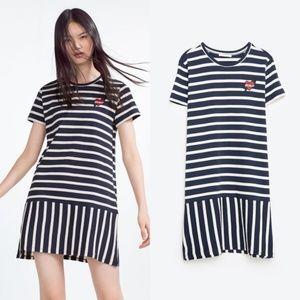 Zara Striped Heart Patch Dress Drop Waist Tee T Sh